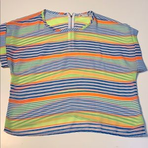 Striped Semi-Sheer Top with Cuffed Sleeves